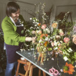 Carole of Tuckshop Flowers creates a hanging spring flower installation