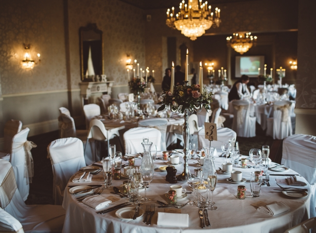 Weddings at Mercure Walton Hall Hotel Warwickshire. Moncrieffe Suite decorated with English Roses by Tuckshop Flowers, Birmingham. Wedding flowers for Worcestershire, Warwickshire, Birmingham and the West Midlands