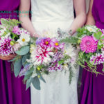 Bright dahlia bridal bouquets. British flowers for natural wildflower weddings by Tuckshop Flowers, Birmingham