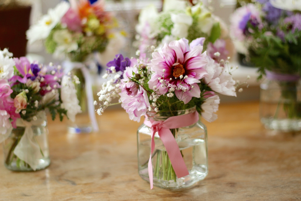 Simple British Flowers In Jam Jars For Table Centrepieces