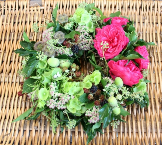 Natural funeral flowers. Small wreath with British flowers and foliage by Tuckshop Flowers, Birmingham
