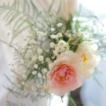 Scented roses for chair flowers at Walton Hall Hotel and Spa. Wedding flowers by Tuckshop Flowers