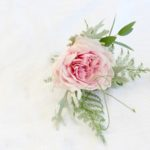 NaturalGroom's buttonhole with pink rose and foliage for a woodland inspired July wedding. British flowers for weddings in Worcestershire, Warwickshire, Birmingham and the West Midlands. Tuckshop Flowers.