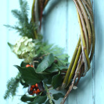 Hand woven Christmas wreath using local willow and natural foliage garland