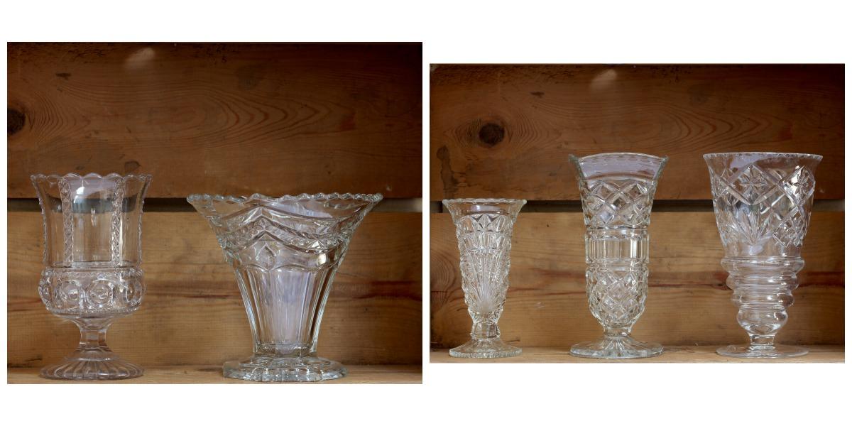 Pressed Glass Vases Tuckshop Flowers