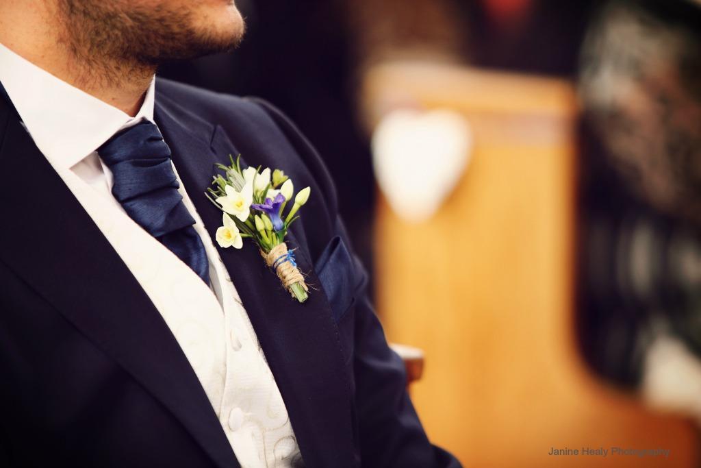 Blue And White Spring Wedding Onhole Photo Janine Healy