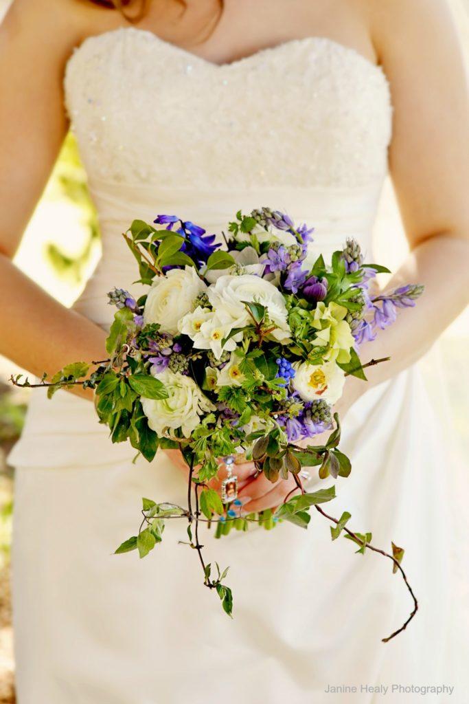 Wildflower wedding bouquet for a spring bride.