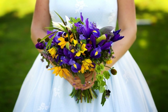 Natural English country garden style September wedding flowers in blue purple and yellow. Bride's bouquet by Tuckshop Flowers, Birmingham. Wethele Manor. Wedding flowers for Warwickshire, Worcestershire and the West Midlands