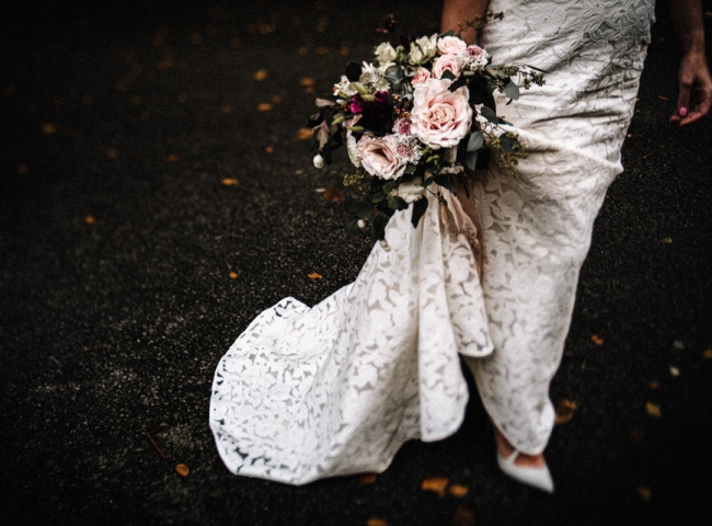 Boho wedding bride's bouquet for Berrow Court, Birmingham.  Wild wedding flowers by Tuckshop Flowers
