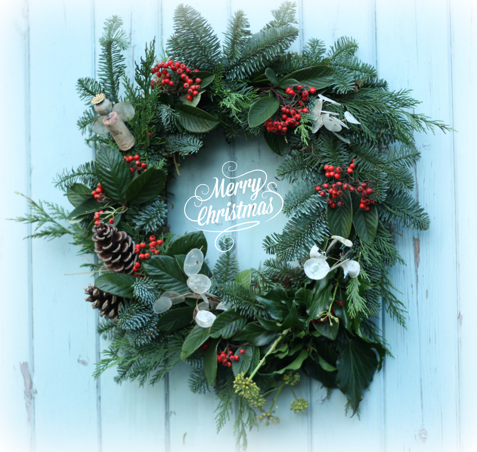 Fresh natural Christmas wreaths. Avaialble to order from Moseley Farmers Market in November, or to buy there in December