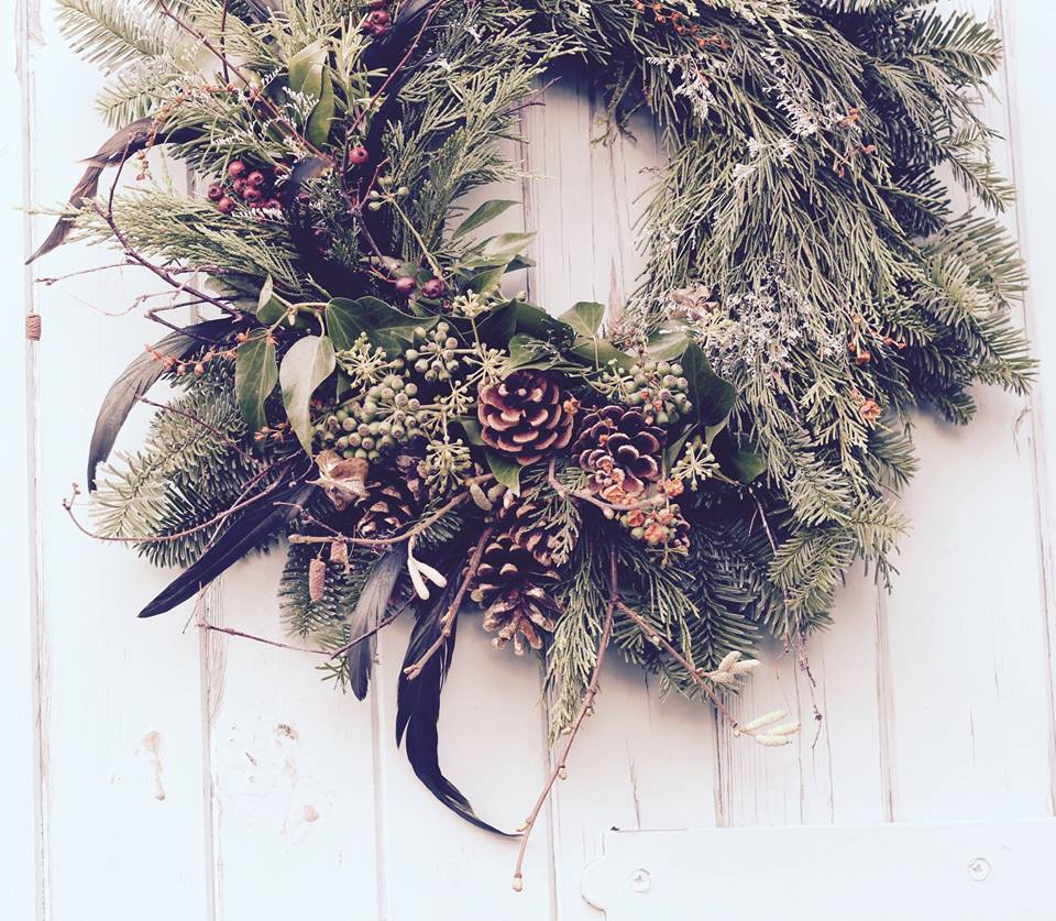 natural fresh christmas wreath with locally sourced ingredients. Available to order at Moseley Farmers Market in November, or to buy there in December.
