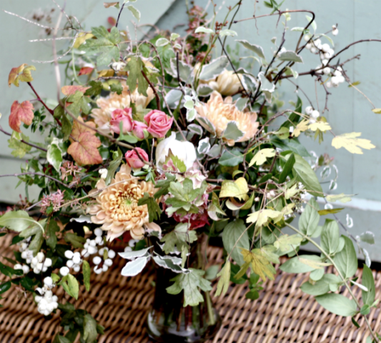 Natural event flowers - wild bouquet with peach chrysanthemums, autumn foliage and snowberries by Tuckshop Flowers, Birmingham. Weddings funerals and events in West Midlands, Warwickshire and Worcestershire