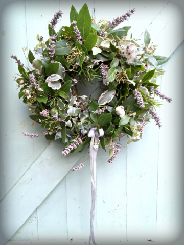 fresh evergreen wreath with dried lavender