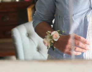 modern cuff wedding wrist corsage with blush rose by Tuckshop Flowers