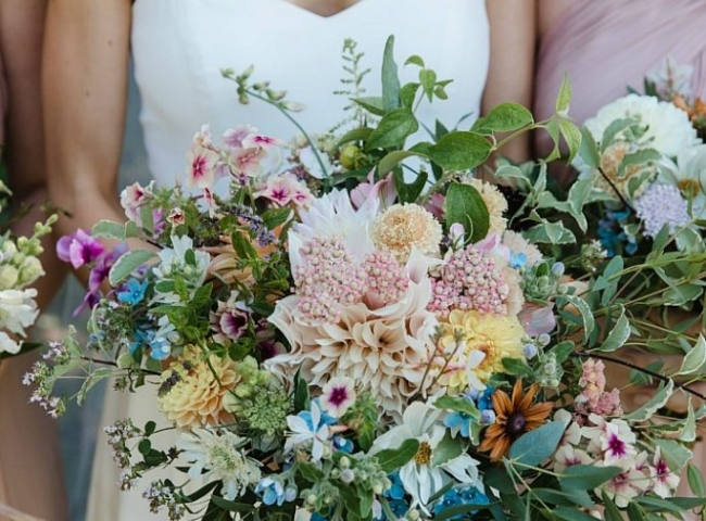Boho pastel summer bouquet with pops of blue. Wild flower weddings West Midlands.