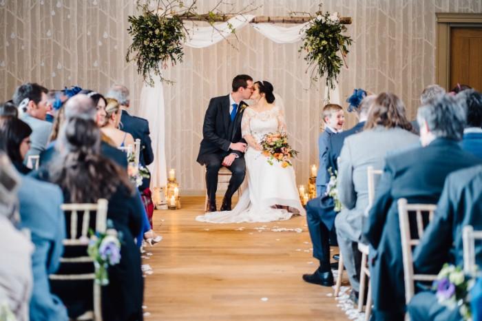 Silver birch arch for The Birches Ceremony Room, Hampton Manor weddings.
