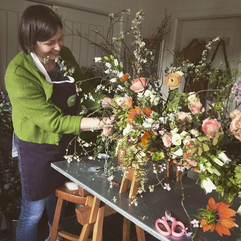 Carole of Tuckshop Flowers, Birmingham. Independent wedding, funeral and event florist.
