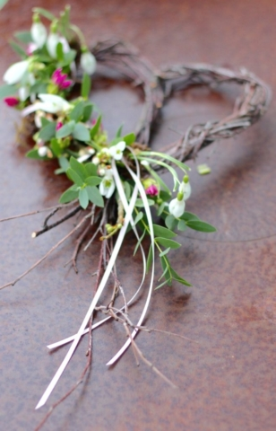 natural heart wreath for funeral flowers for a baby