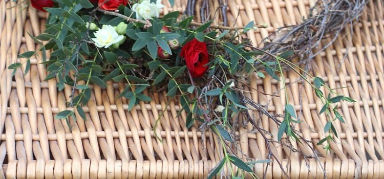 Natural heart with red ranunculus and eucalyptus - funerals, weddings, events and flower workshops