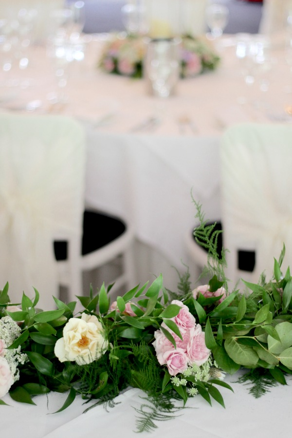 Beautiful wedding garland for top table flowers at Moxhull Hall Hotel, Staffordshire.