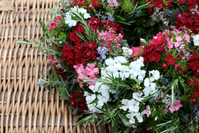 Natural funeral flowers in Birmingham. This wreath was made using British grown Sweet Willimas, flowering rosemary and limonium.