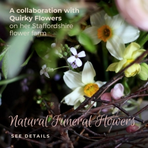 Natural funeral flowers floristry and business workshop with Tuckshop Flowers and Quirky Flowers, Staffordshire