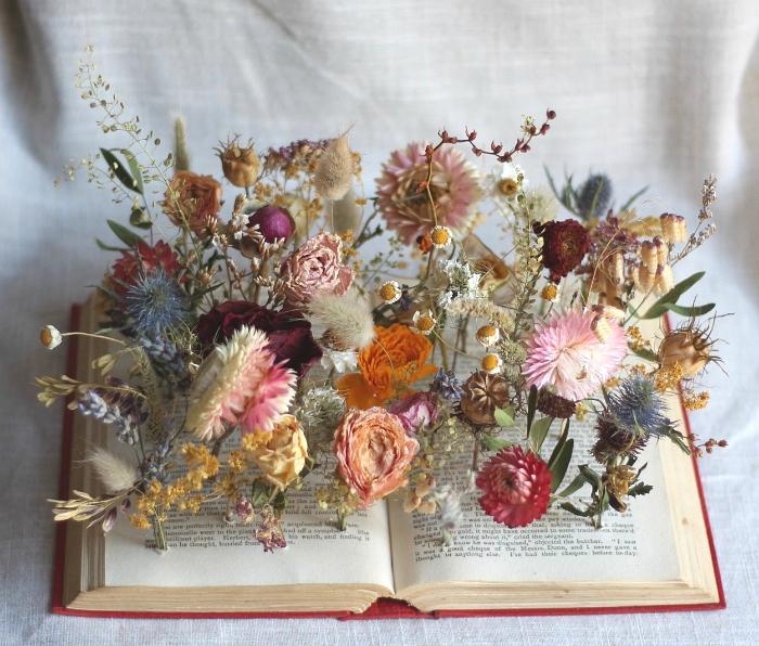 Dried flower book - Wedding centrepiece for an Old Library wedding, Digbeth, Birmingham