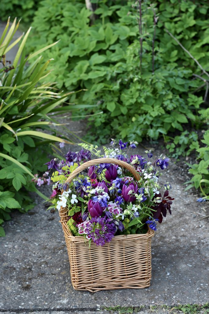 natural posies of seasonal flowers to decorate a spring funeral.